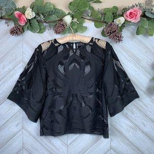 Worthington Black Lace Top Small